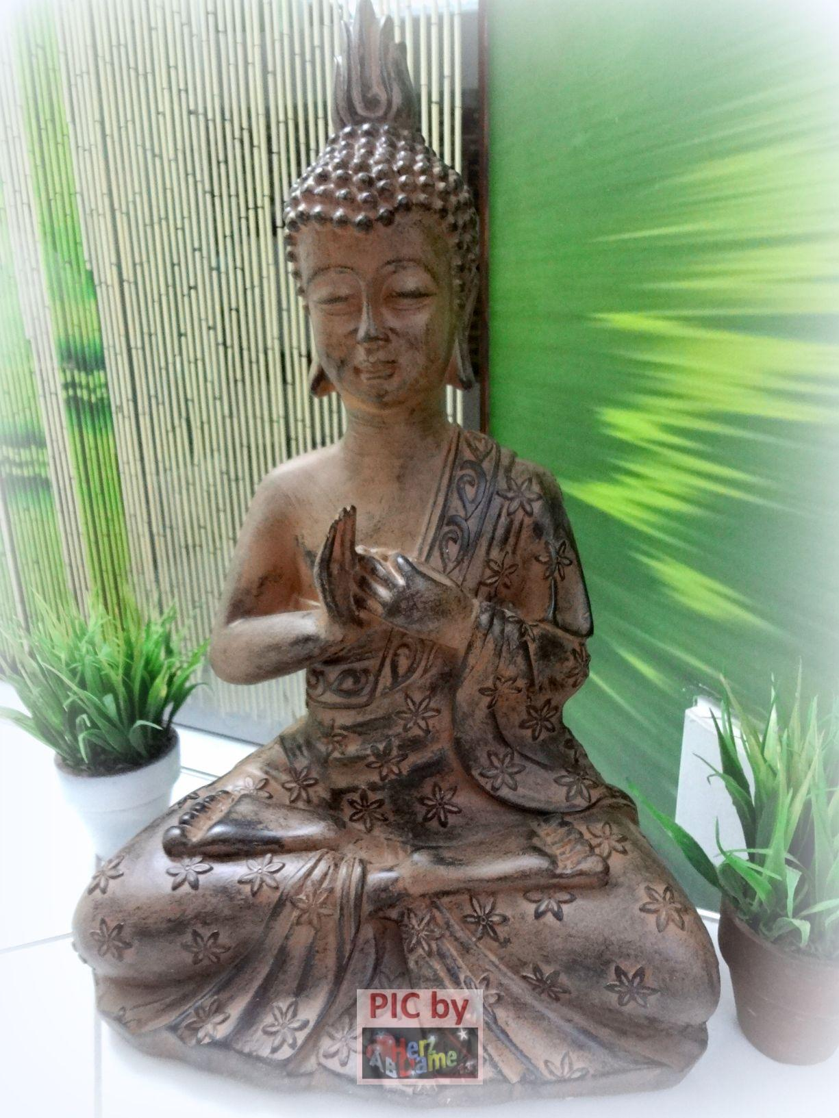 ab448d xl 42cm figur skulptur deko meditation buddha feng shui holz optik neu ebay. Black Bedroom Furniture Sets. Home Design Ideas