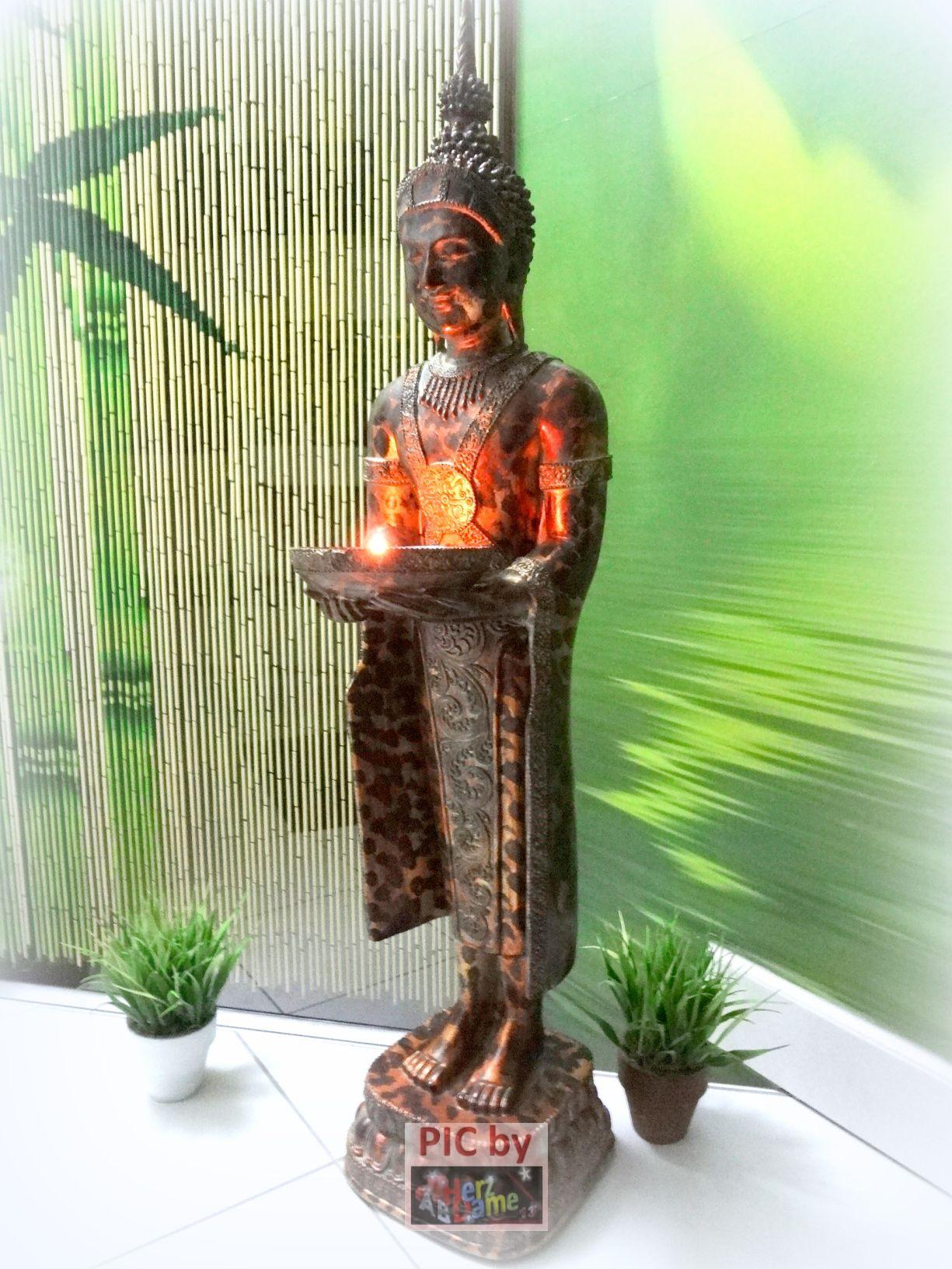 ab525 figur skulptur deko buddha kupfer altgold mystisch schale feng shui 74cm ebay. Black Bedroom Furniture Sets. Home Design Ideas