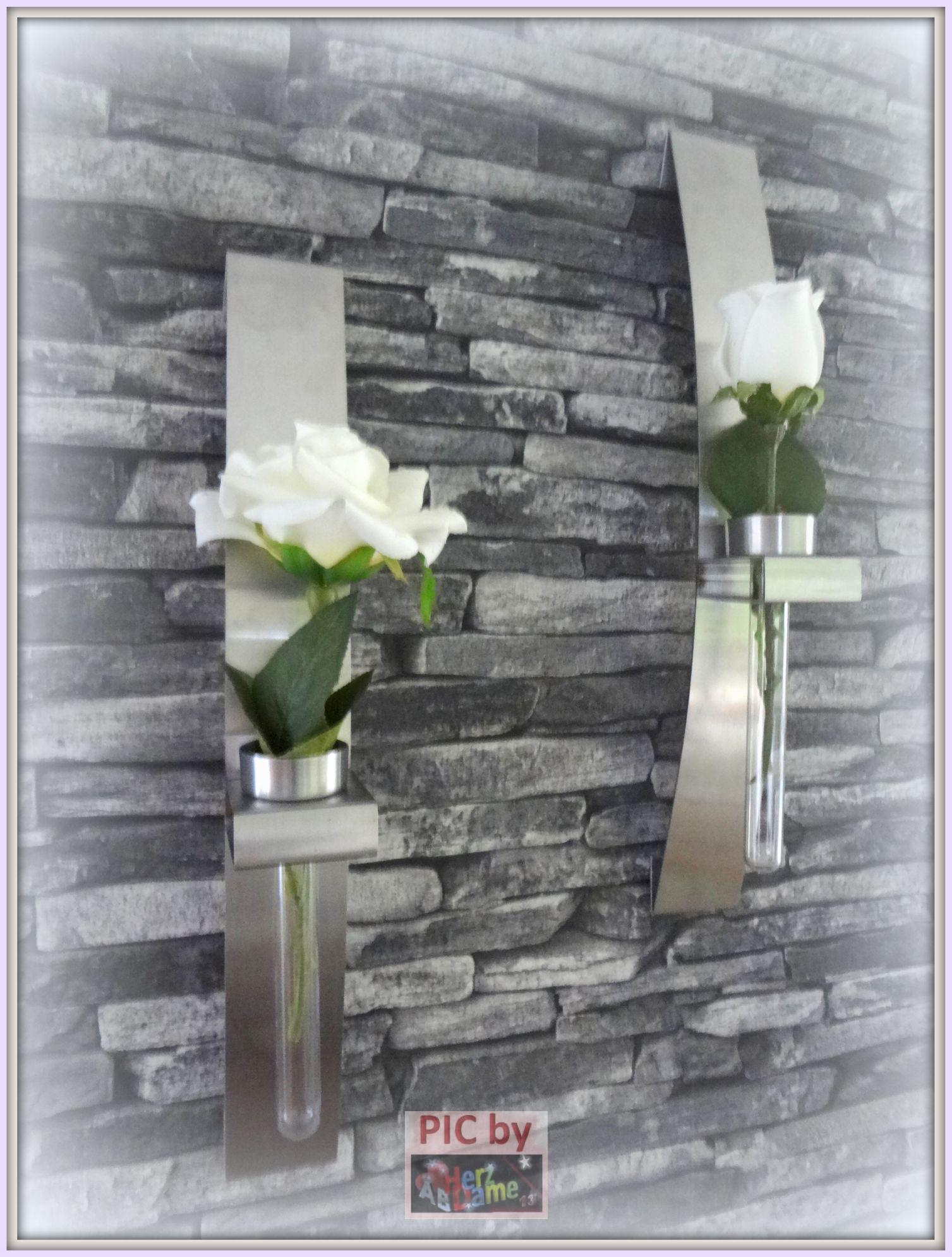 ab691 twin deko teelichthalter 2er vase wand edler stahl metall teelichter neu ebay. Black Bedroom Furniture Sets. Home Design Ideas