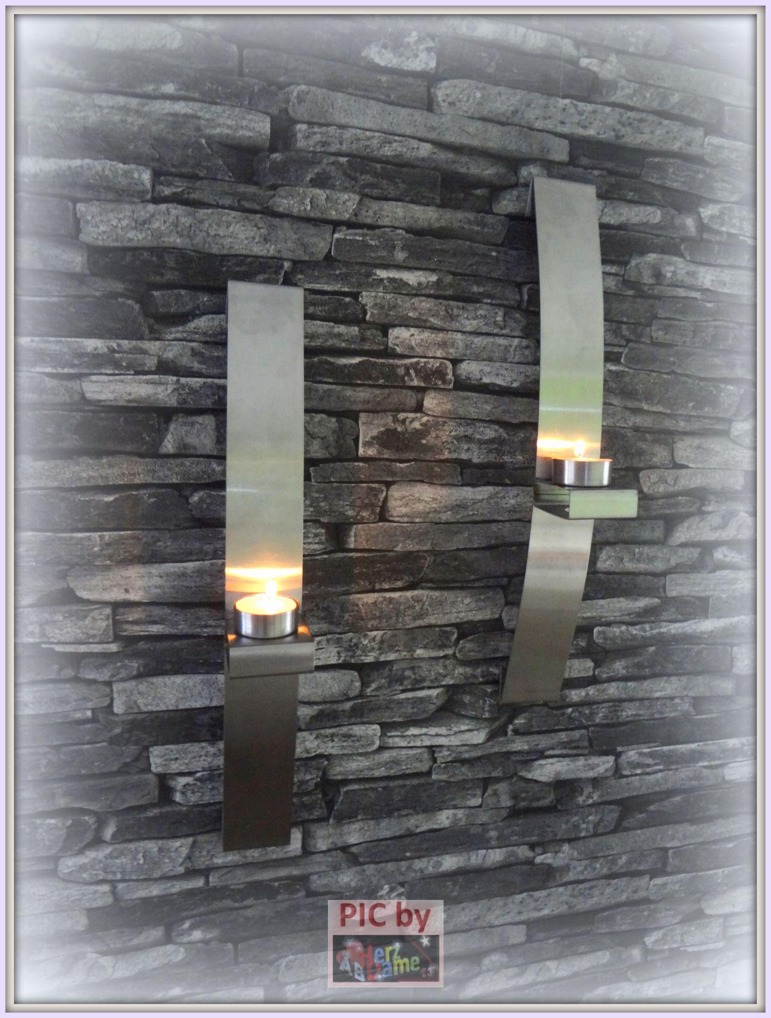 ab691 twin deko teelichthalter 2er vase wand edler stahl metall teelichter neu. Black Bedroom Furniture Sets. Home Design Ideas