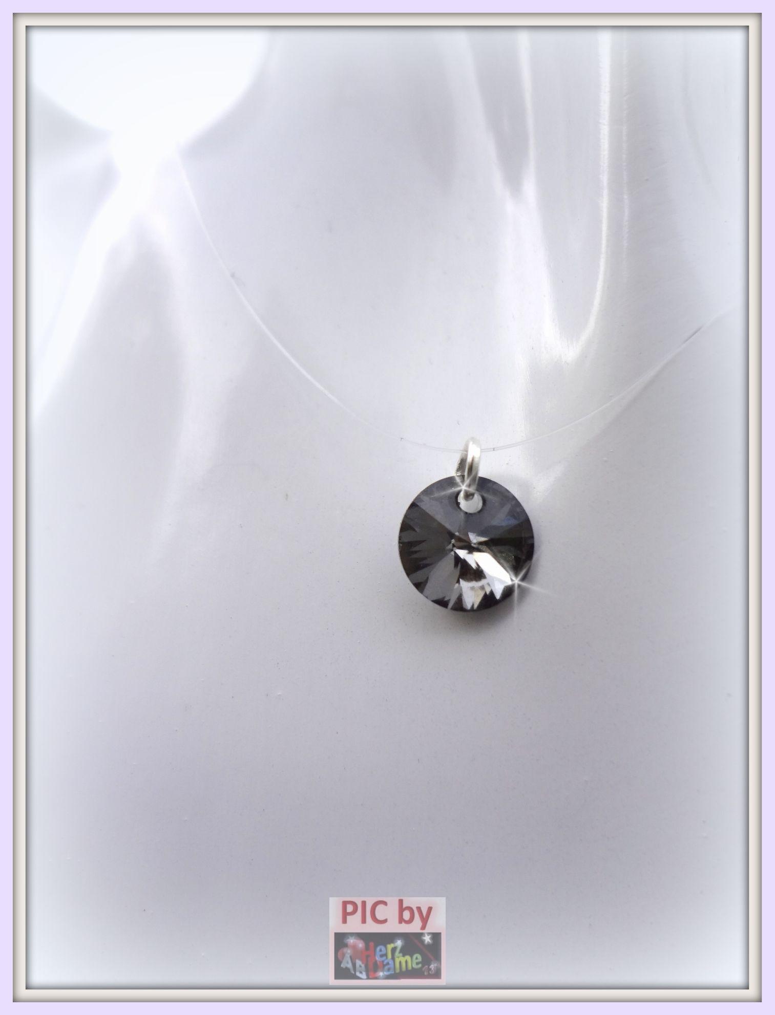abses schwebender stein silver nylonkette mit swarovski elements silber 925 n ebay. Black Bedroom Furniture Sets. Home Design Ideas