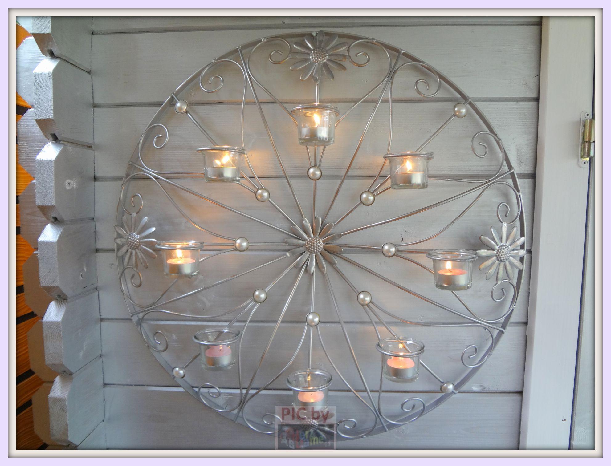 ab982 wand deko xl 8er teelichthalter blumenrad silber metall 62cm neu ebay. Black Bedroom Furniture Sets. Home Design Ideas