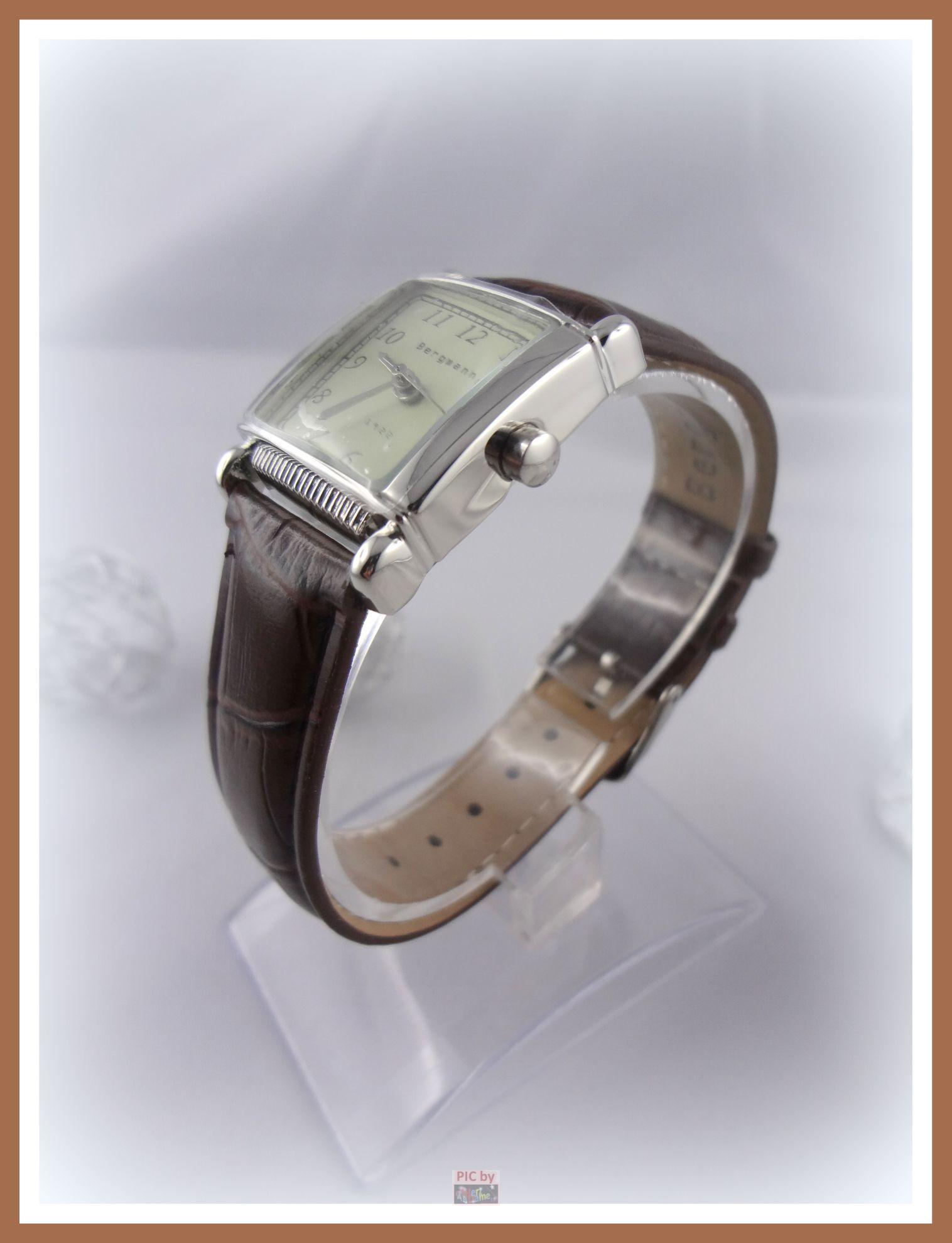 abl bergmann 1922 damenuhr uhr armbanduhr braun eckig. Black Bedroom Furniture Sets. Home Design Ideas