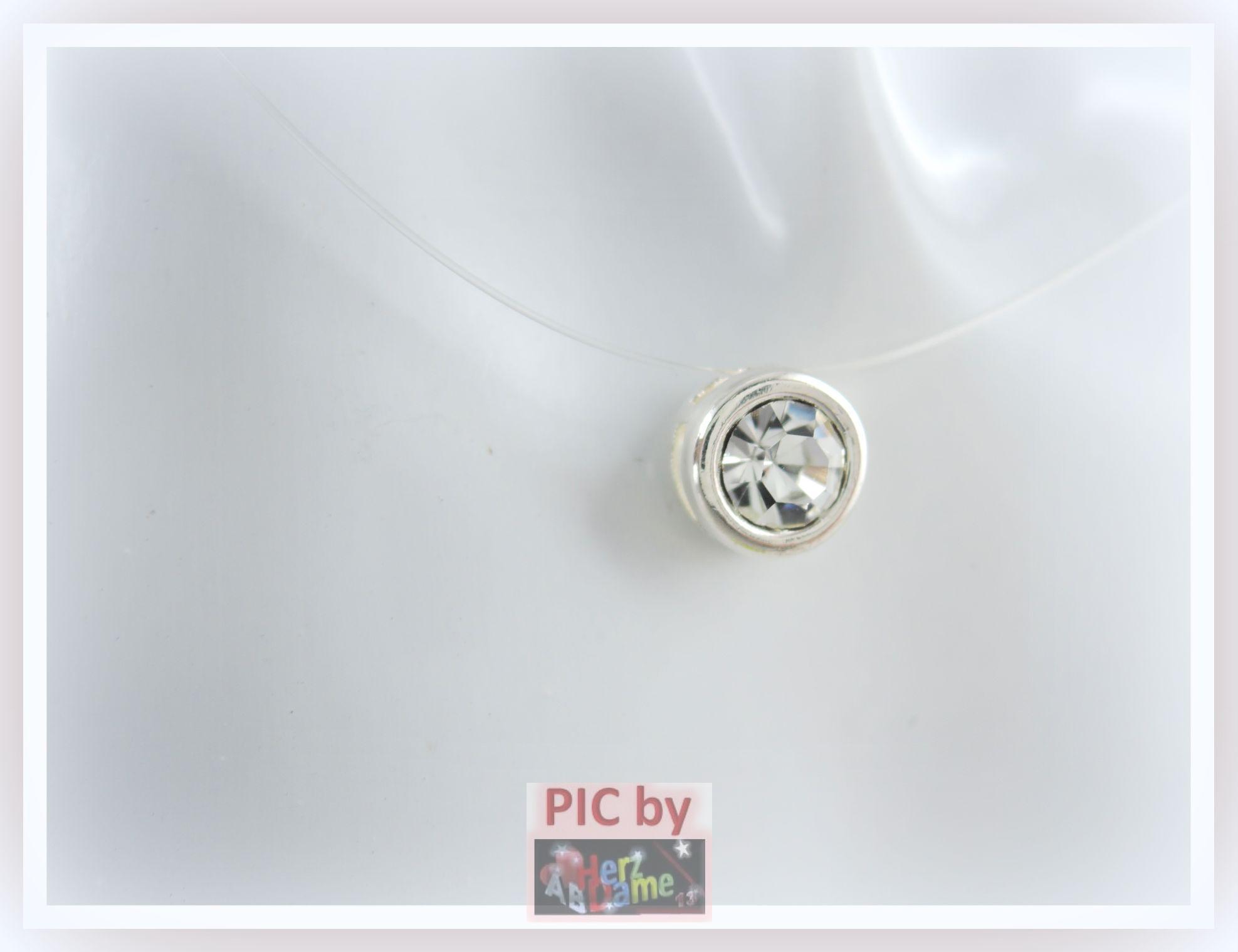 ab halskette nylonkette schwebender xl strass stein klar silber f 9 ebay. Black Bedroom Furniture Sets. Home Design Ideas