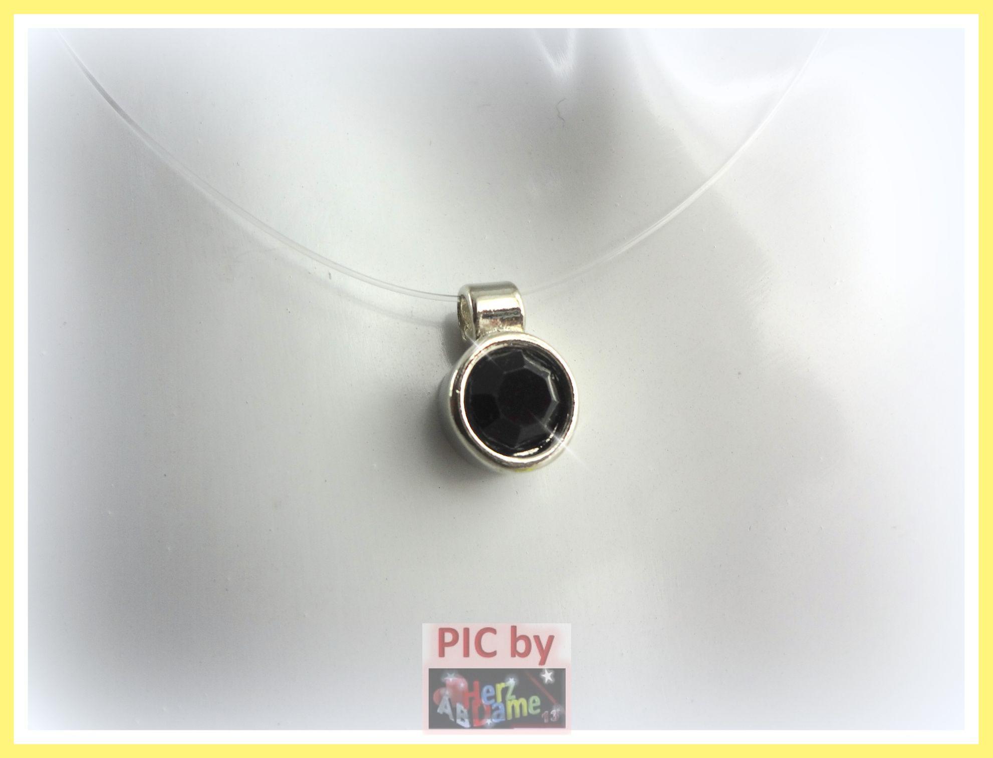 ab350 halskette nylonkette schwebender xl strass stein black neu 9b ebay. Black Bedroom Furniture Sets. Home Design Ideas