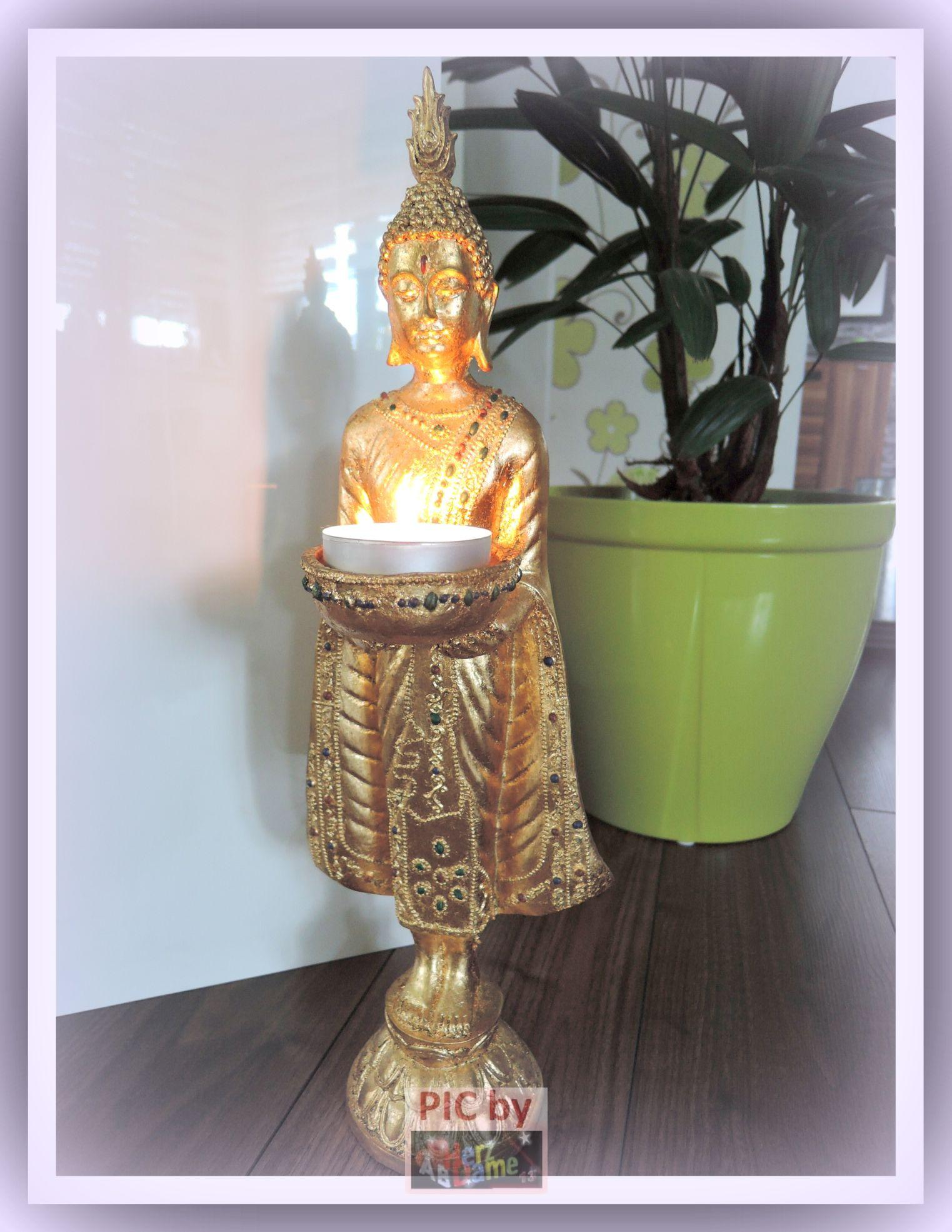 ab asia figur skulptur deko xl 45cm buddha gold teelichthalter feng shui neu ebay. Black Bedroom Furniture Sets. Home Design Ideas