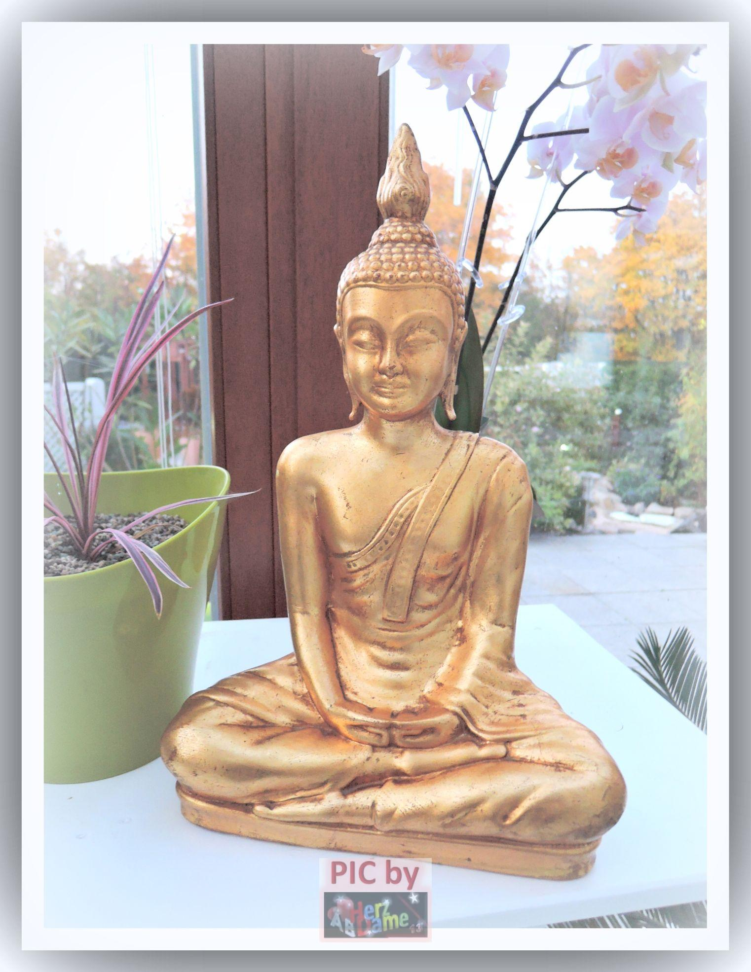 ab antike buddha skulptur deko xl 40cm gold asia feng shui keramik ebay. Black Bedroom Furniture Sets. Home Design Ideas