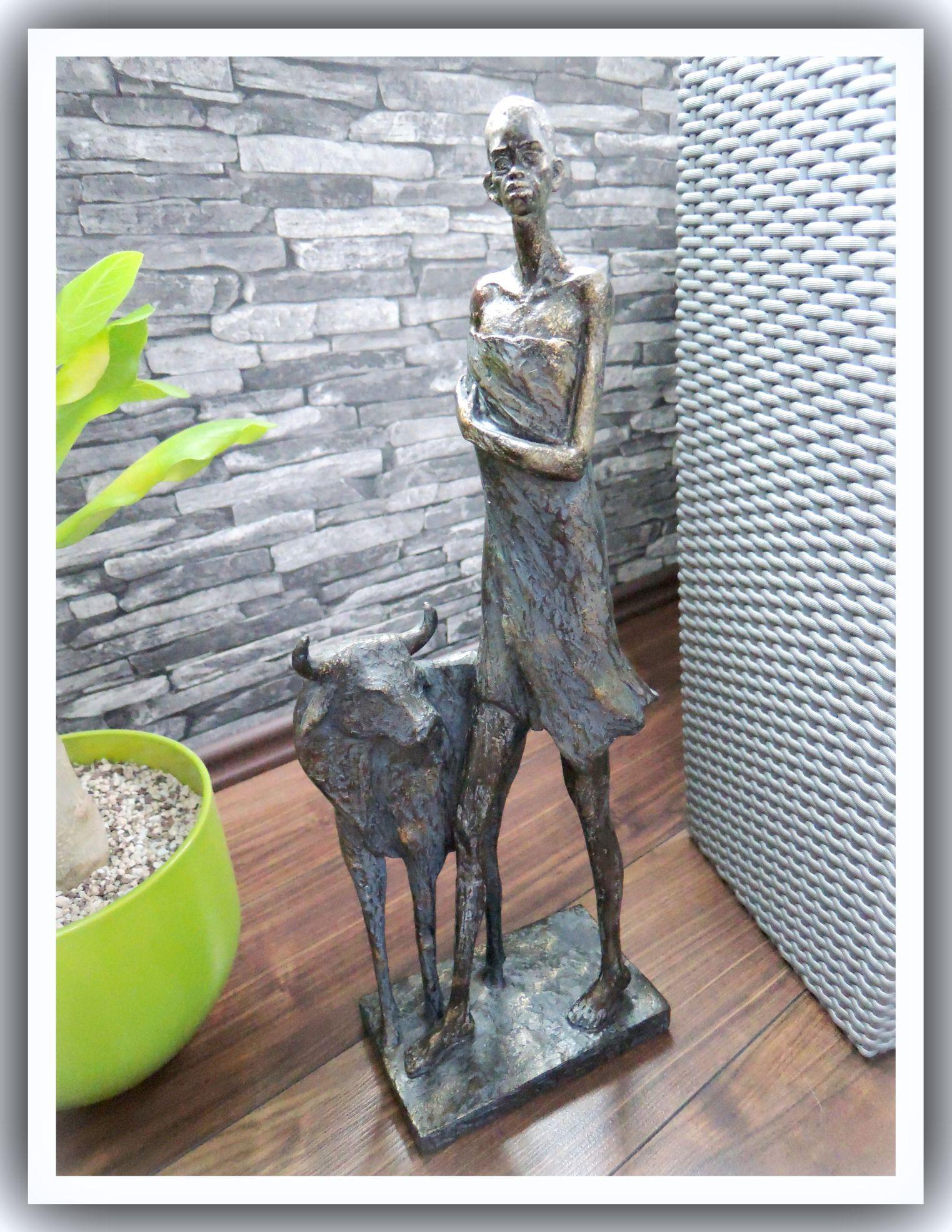aba060 deko xl moderne skulptur masai afrika stier bronze look 50cm ebay. Black Bedroom Furniture Sets. Home Design Ideas