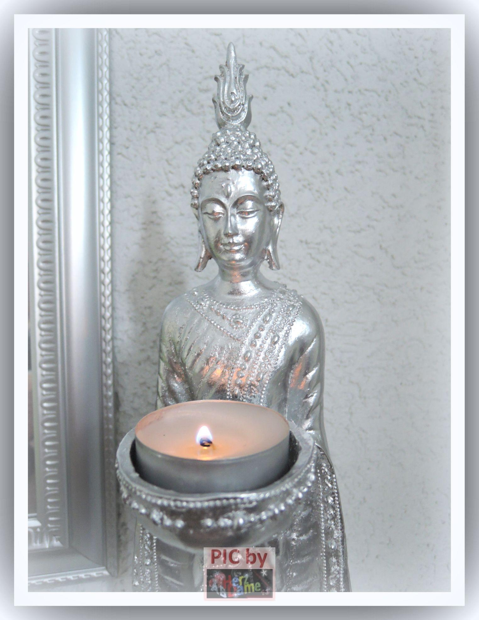 figur skulptur deko xl 45cm buddha edel silber chrome teelichthalter feng shui ebay. Black Bedroom Furniture Sets. Home Design Ideas