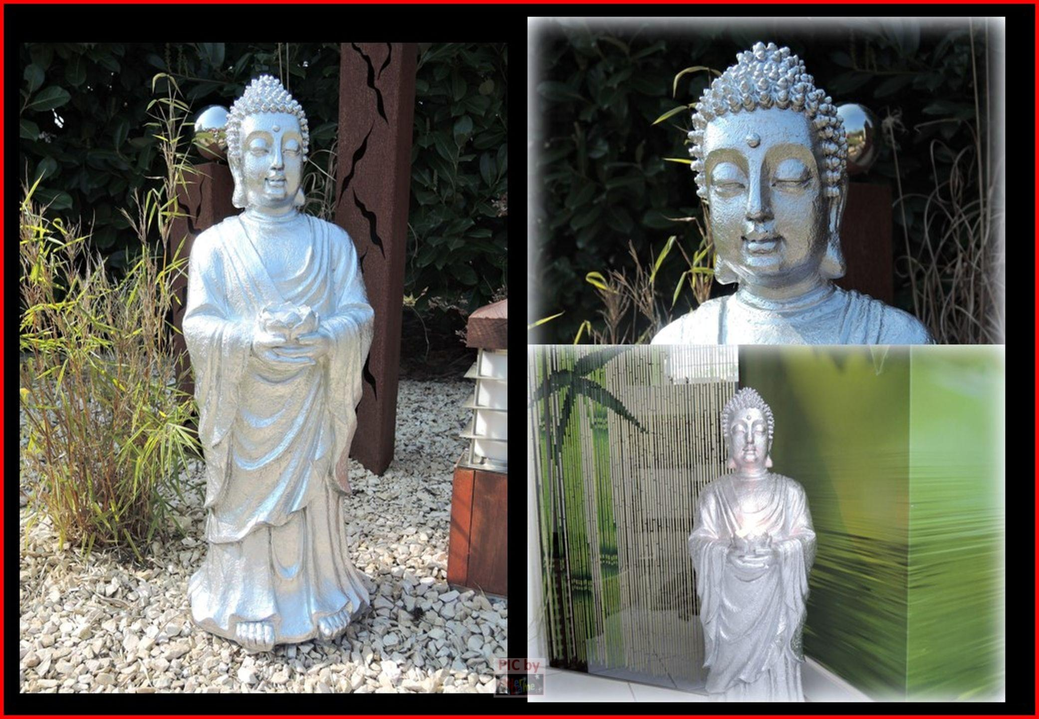 ab skulptur deko xl 64cm buddha teelichthalter feng shui silber chrome ebay. Black Bedroom Furniture Sets. Home Design Ideas