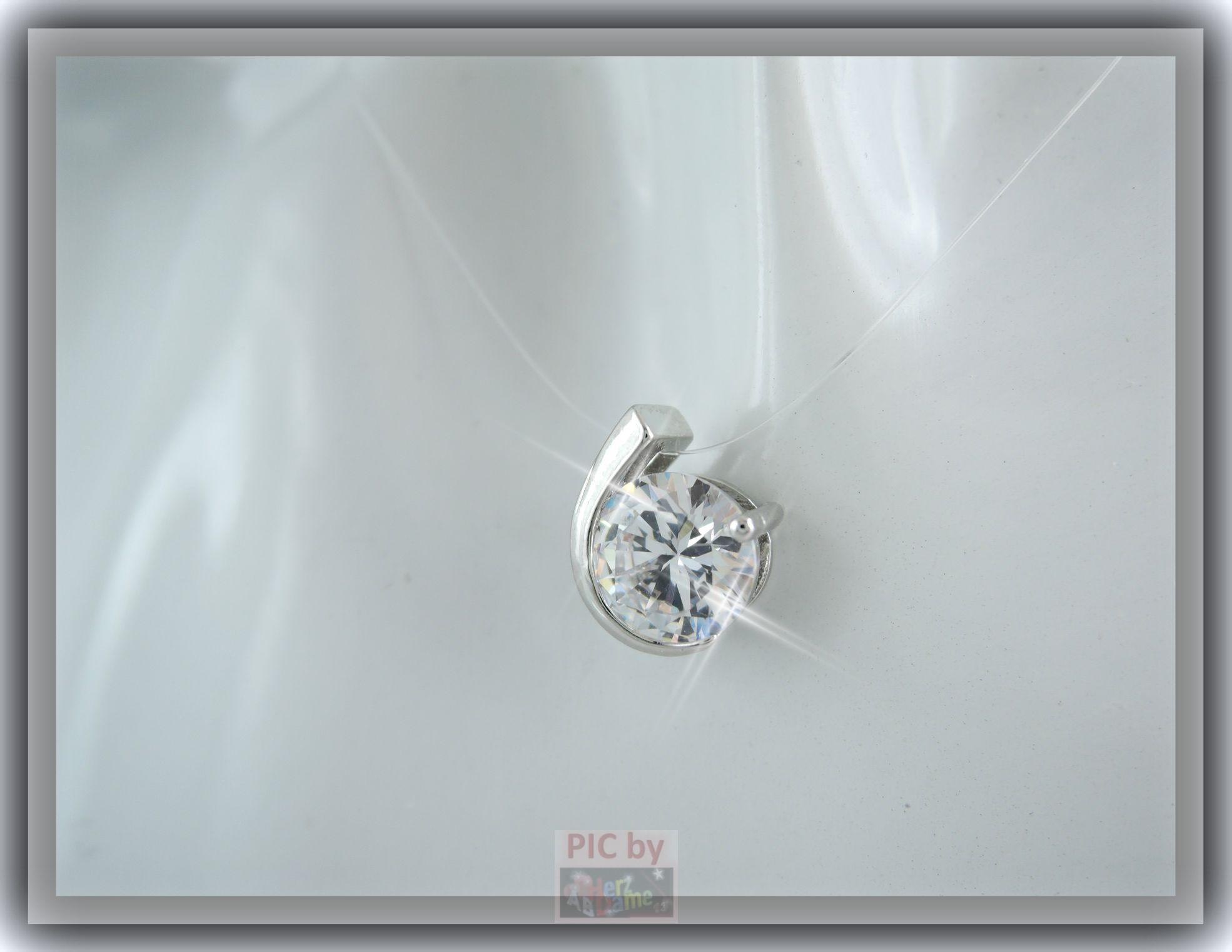 ab skin collier nylon kette schwebender stein zirkonia silber klar 96 ebay. Black Bedroom Furniture Sets. Home Design Ideas