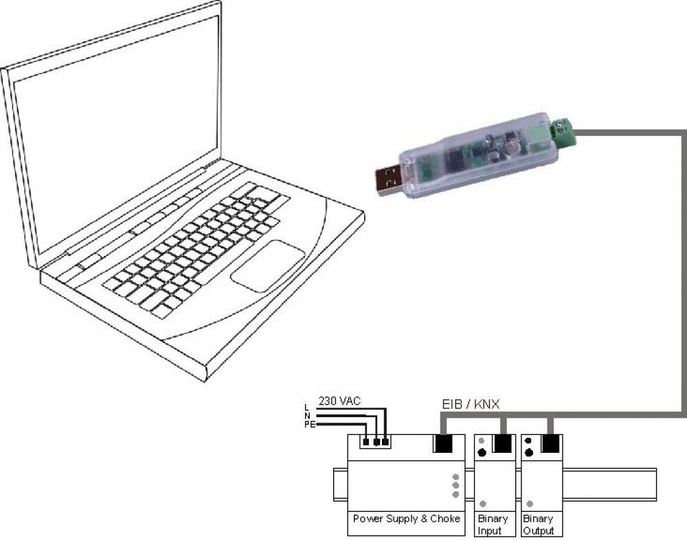 weinzierl 330 knx usb interface stick als set im koffer