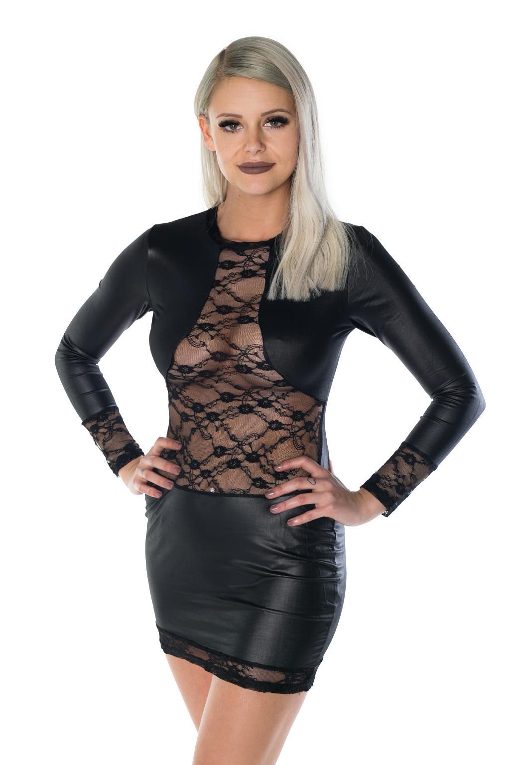 Wetlook Partykleid Minikleid Clubkleid langarm mit Spitze schwarz XS ...