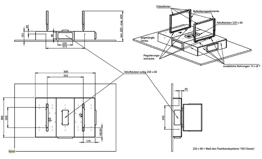 Deckenhaube 60x90cm Dunstabzugshaube 850m³/h Fernbedienung ...