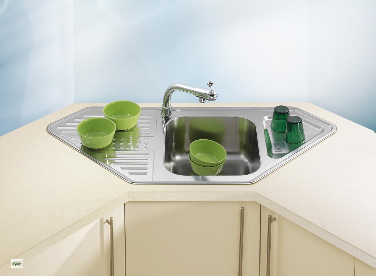 """Corner Sink Unit Pixels 70 Kitchen Sink 42.91x20.47"""" Stainless Steel - 1085971-A"""