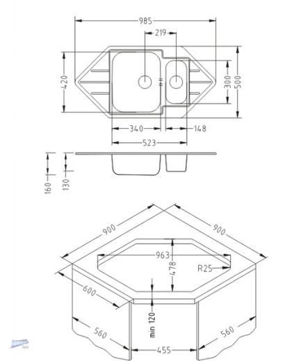 einbausp le ecksp le line 40 edelstahl oder leinen. Black Bedroom Furniture Sets. Home Design Ideas