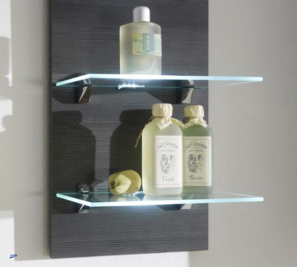 badregal wandregal regal mit glasb den und led beleuchtung. Black Bedroom Furniture Sets. Home Design Ideas