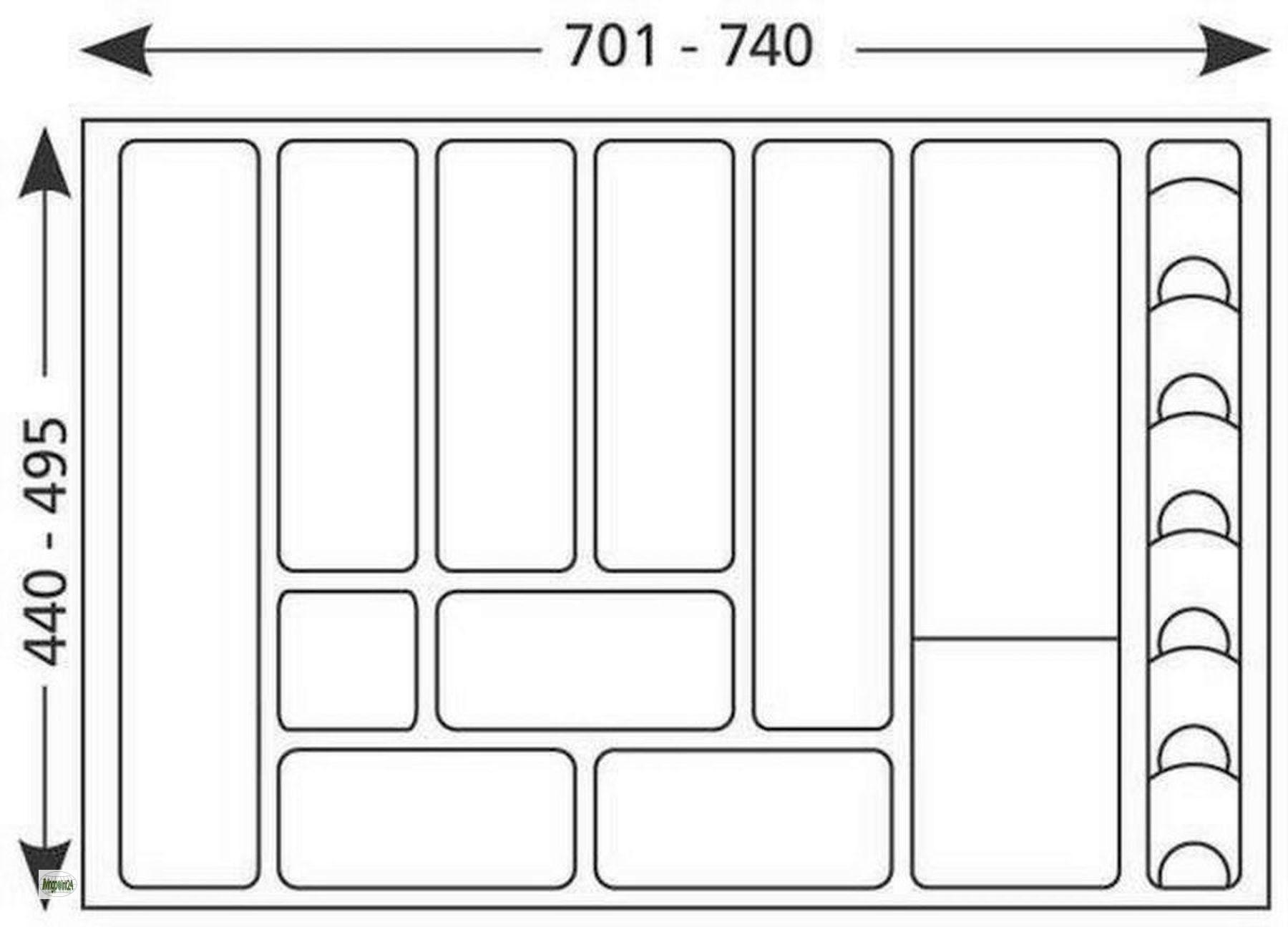 Anni 39 80 inserto porta posate accorciabile per cassetto 701 740mm 517169 ebay - Porta posate da cassetto ...