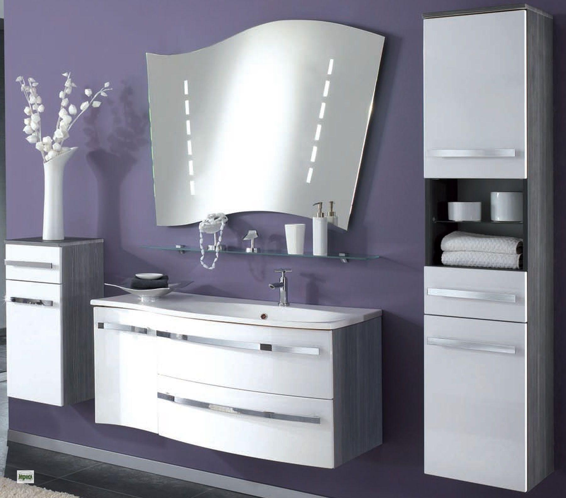 Badm belset 5 teile spiegel waschbecken hochschrank for Spiegel unterschrank