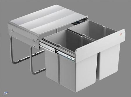 wesco shorty 2x15 liter abfalleimer k che 32cm tief vollauszug m lleimer 40740 ebay. Black Bedroom Furniture Sets. Home Design Ideas