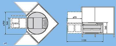 Kücheneckschrank  Hailo Rondo Küchen Abfalleimer 2x18L Küchen Eckschrank Mülleimer ...