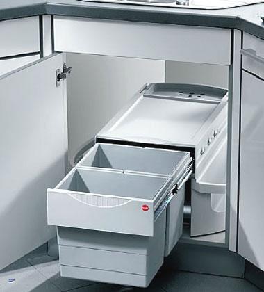 hailo rondo abfalleimer küche 2x20l eckschrank 360° drehbar inkl