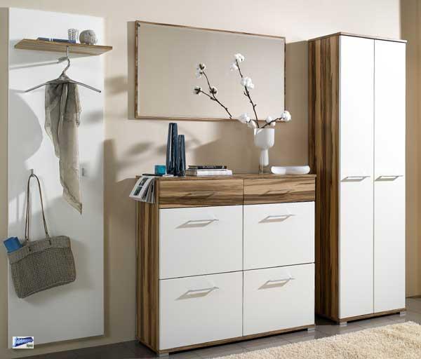 4 tlg garderobe dielenm bel schuhschrank spiegel kleiderschrank garderobenpaneel ebay. Black Bedroom Furniture Sets. Home Design Ideas