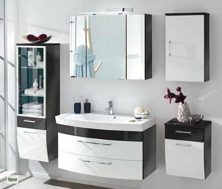 5tlg badm bel set waschplatz hochschrank spiegelschrank waschtisch badezimmer ebay. Black Bedroom Furniture Sets. Home Design Ideas