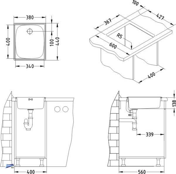 einbausp le edelstahl 1 becken sp le 440x380 k chensp le sp lbecken 1037287. Black Bedroom Furniture Sets. Home Design Ideas