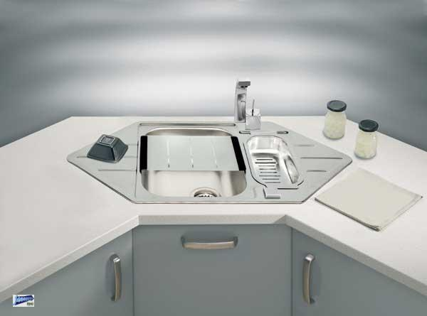 edelstahl ecksp le line 40 einbausp le 985x500x160 sp le. Black Bedroom Furniture Sets. Home Design Ideas