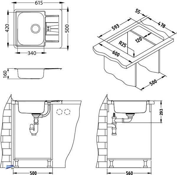 edelstahl einbausp le sp le line 60 k chensp le 1. Black Bedroom Furniture Sets. Home Design Ideas