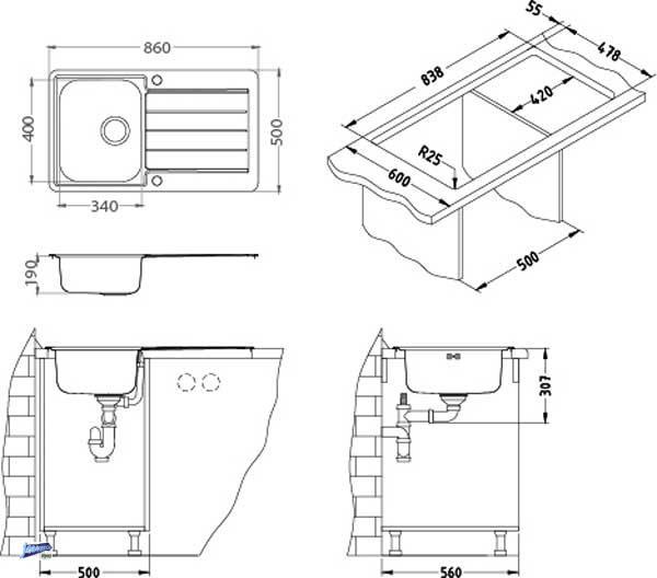 einbausp le 860x500mm edelstahl line max 20 sp le 1 becken mit ablage 1085945 ebay. Black Bedroom Furniture Sets. Home Design Ideas