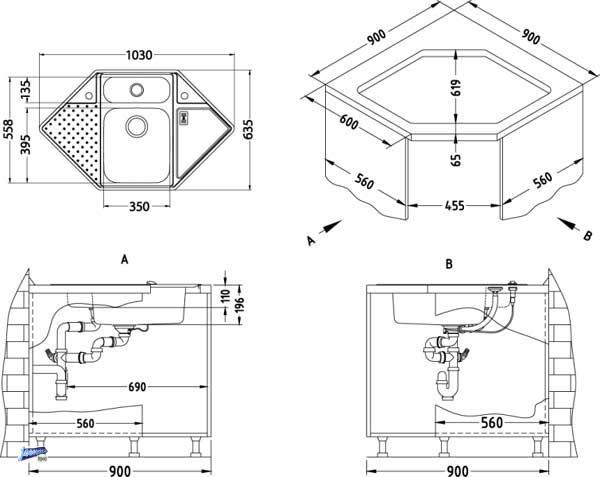 eckschrank k che ma e. Black Bedroom Furniture Sets. Home Design Ideas