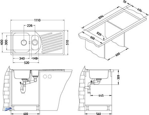 einbausp le 1110x510mm elegant 100 sp lbecken mit ablage k chensp le 1009111 ebay. Black Bedroom Furniture Sets. Home Design Ideas