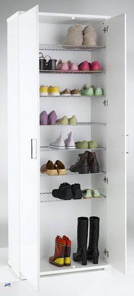 schuhschrank weiss hochschrank 198x745cm schuhregal 7 metallgitterb den 3389 76 ebay. Black Bedroom Furniture Sets. Home Design Ideas