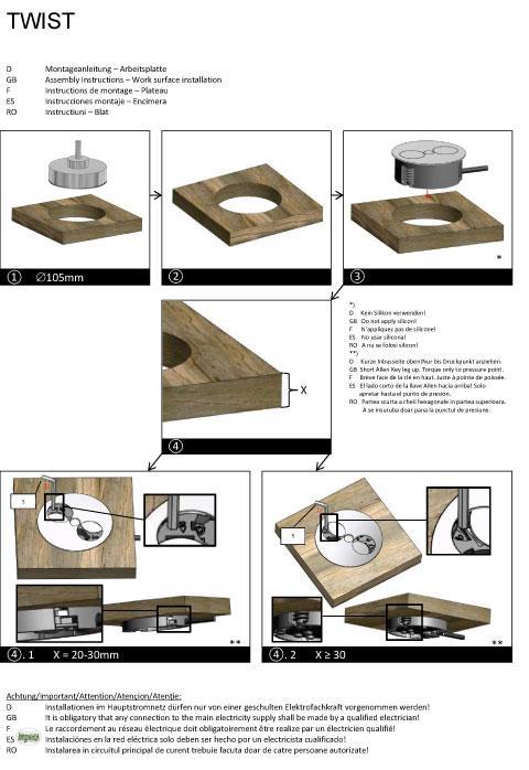 energiebox twist 2 steckdosen f r arbeitsplatte kinderschutz edelstahl 611012 ebay. Black Bedroom Furniture Sets. Home Design Ideas