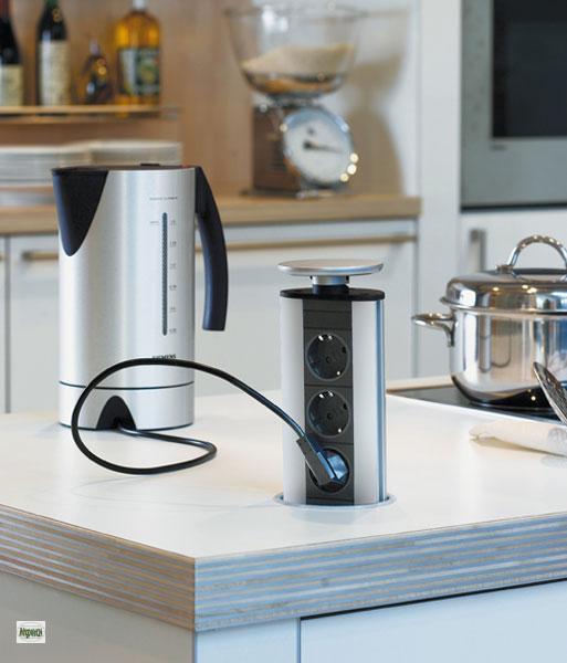 evoline port steckdose versenkbar alu optik. Black Bedroom Furniture Sets. Home Design Ideas