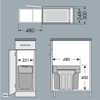 hailo tandem swing 30 er schrank abfalleimer k che 1x24 1x7l m lleimer 43657. Black Bedroom Furniture Sets. Home Design Ideas