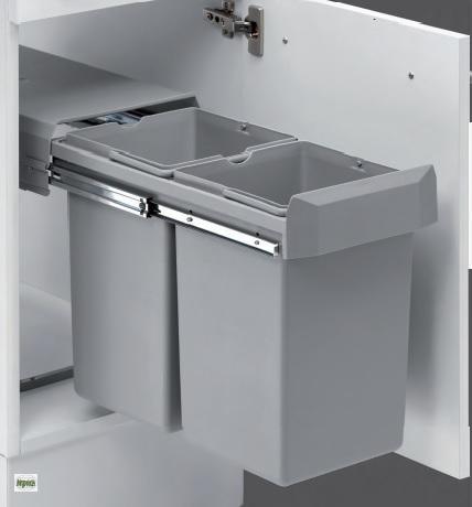 wesco double boy deluxe 2x15l k chen abfalleimer 30 er schrank m lleimer 40338 ebay. Black Bedroom Furniture Sets. Home Design Ideas