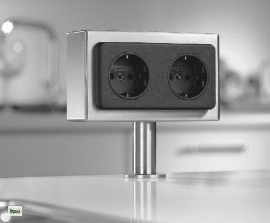 edelstahl arbeitsplatten energiebox 2 fach schuko. Black Bedroom Furniture Sets. Home Design Ideas