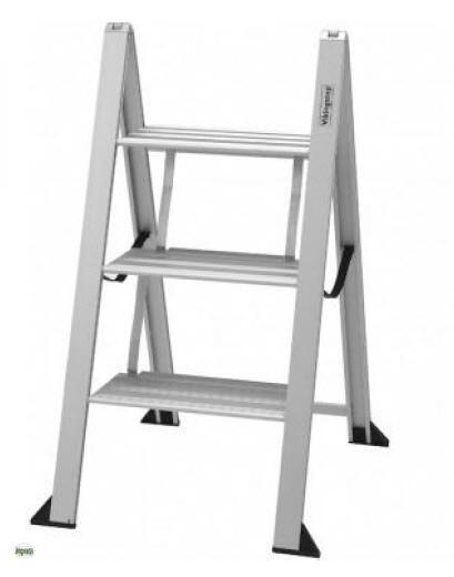 alu trittleiter superflach 2 3 stufen klapptritt leiter. Black Bedroom Furniture Sets. Home Design Ideas