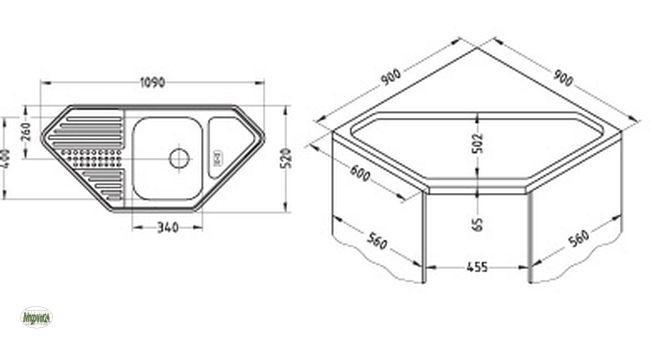 Eckwaschbecken küche maße  Eckspüle 1090x520mm Edelstahl Einbauspüle Dotto 60 Küchenspüle ...