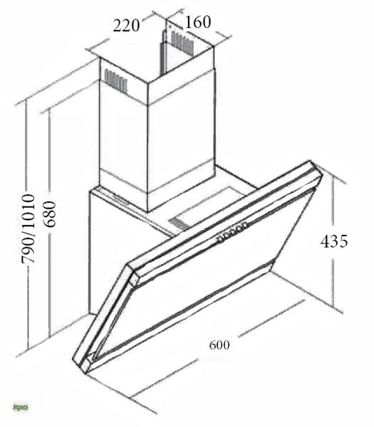 dunstabzugshaube 60cm kastos 420m h sicherheitsglas. Black Bedroom Furniture Sets. Home Design Ideas