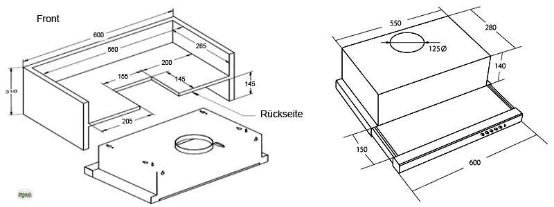 dunstabzug abzugshauben 60cm abluft umluft 480m h einbauhaube edelstahl 20561 ebay. Black Bedroom Furniture Sets. Home Design Ideas