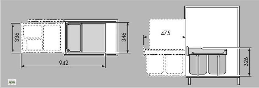 hailo raumspar tandem 2x18l abfalleimer k chen unterschrank m lleimer 43420 a ebay. Black Bedroom Furniture Sets. Home Design Ideas