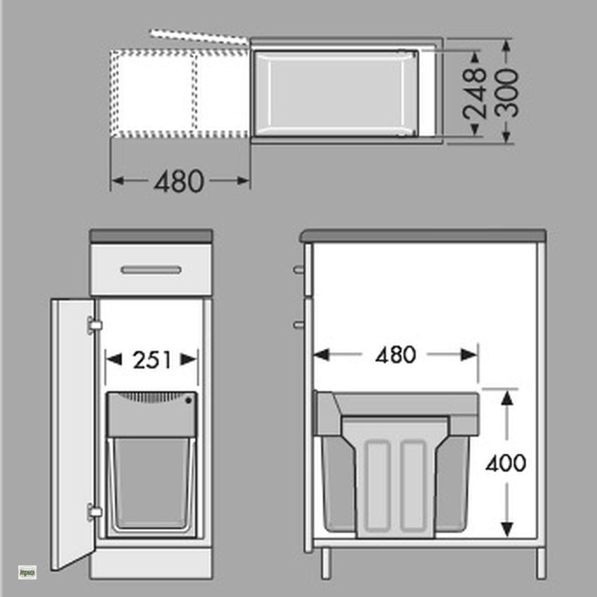 hailo tandem 1x24 1x7liter k chen abfalleimer m lleimer 2 fach trennung 43657 b ebay. Black Bedroom Furniture Sets. Home Design Ideas