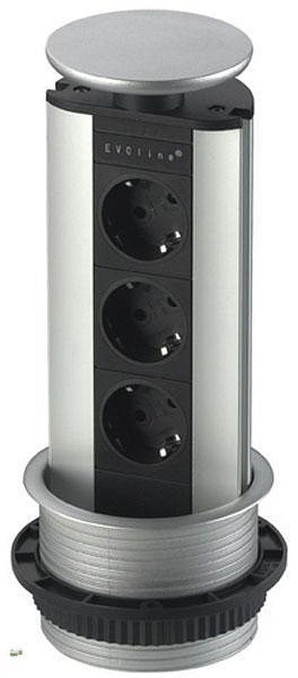 evoline schuko steckdose versenkbar energiebox alu optik einbausteckdose 32839 a ebay. Black Bedroom Furniture Sets. Home Design Ideas