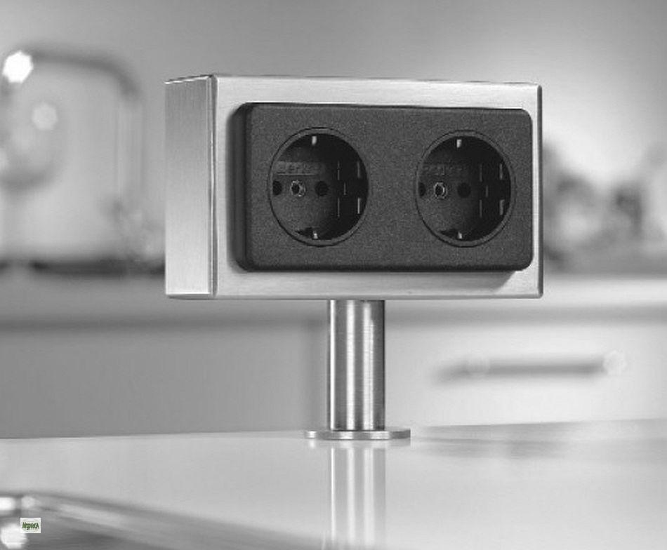 arbeitsplatten energiebox 2 fach edelstahl schuko steckdose freistehend 34300 a ebay. Black Bedroom Furniture Sets. Home Design Ideas