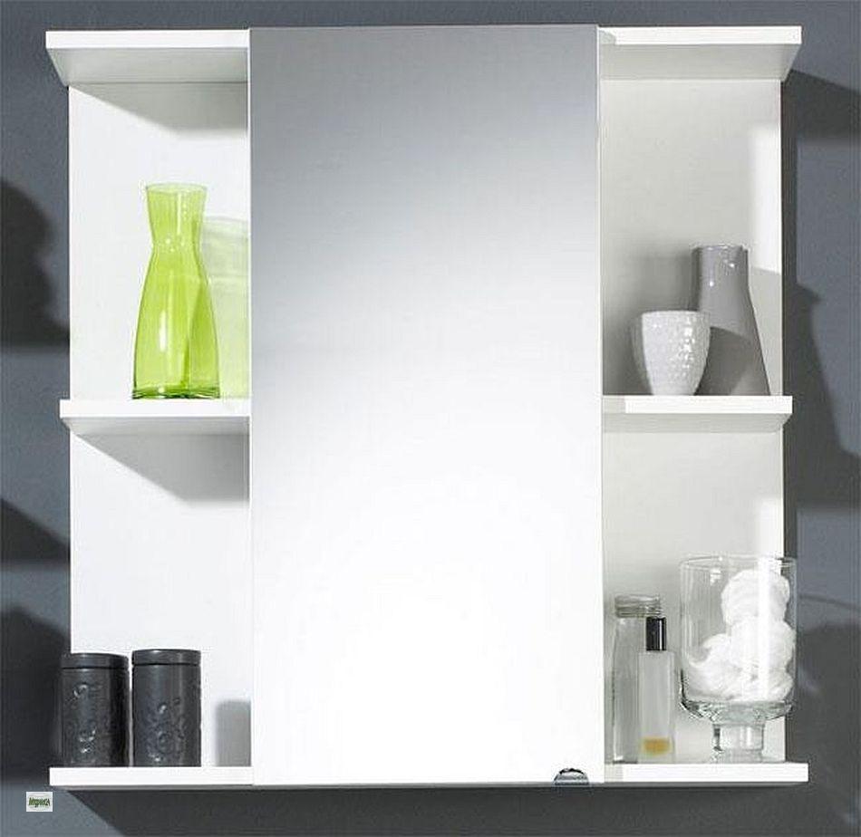 badezimmer spiegelschrank 1 spiegelt r 68x68cm offene ablagen badschrank 5425. Black Bedroom Furniture Sets. Home Design Ideas