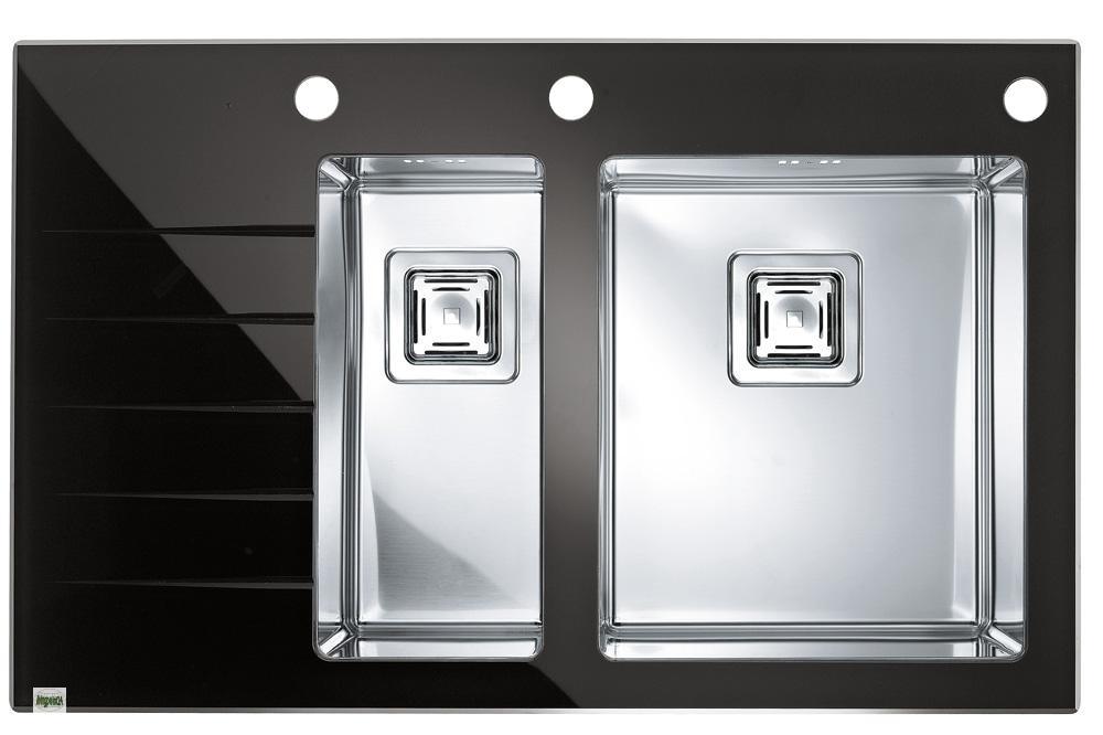 design k chensp le crystalix 20 sp le 860x540mm einbausp le edelstahl glas b ebay. Black Bedroom Furniture Sets. Home Design Ideas